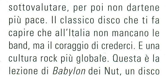 """NUT """"Babylon"""" – 8 sull'articolo cartaceo di RUMORE!!! Da Paura!!"""